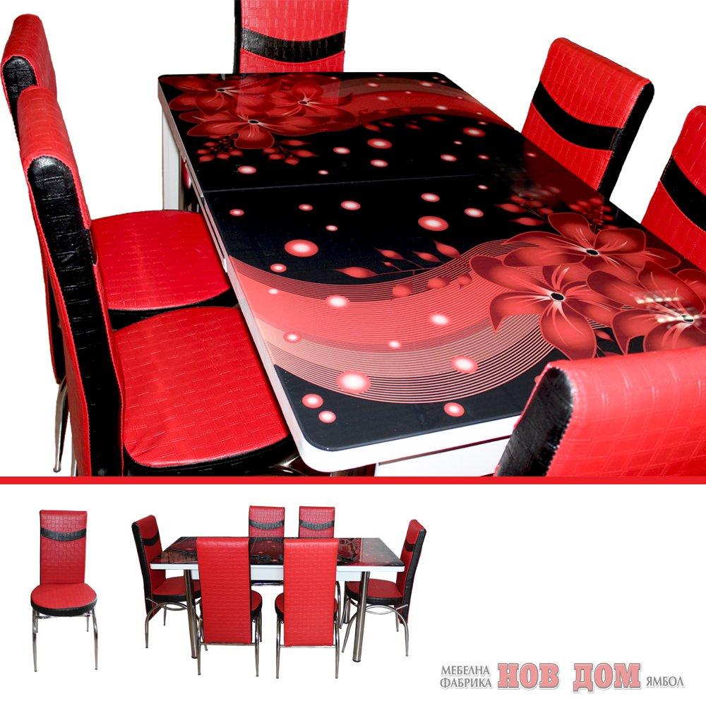 Комплект маса + 6 стола Червени цветя
